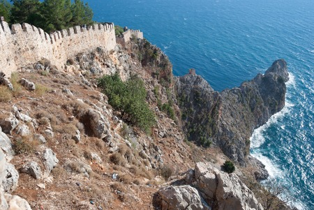 alanya: Ruin castle of Alanya in Antalya, Turkey Stock Photo