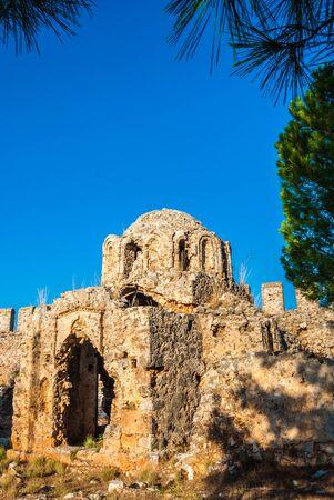 alanya: byzantine church inside the castle of Alanya, Antalya, Turkey