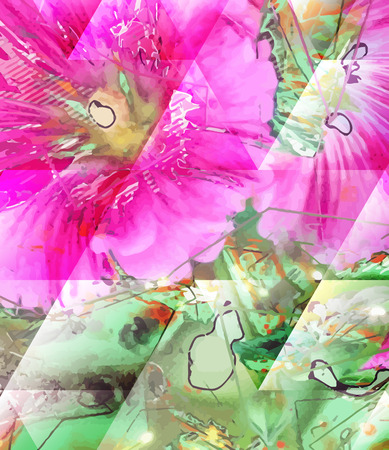 Abstract flower painting. Grungy background texture for text, logo or website. Beautiful spring flowers painted with brushstrokes and digitally modified. Vector