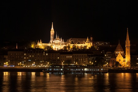 matthias: Matthias church and the Fishermans Bastion at night in Budapest Hungary Editorial