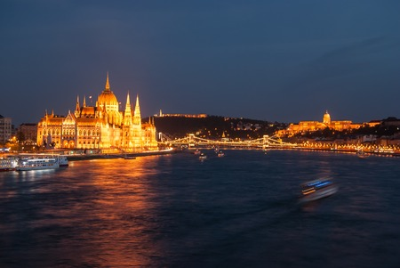 obuda: Budapest Cityscape at night. With the all main landmarks of the city visible ()from left to right): Hungarian Parliament, Liberty Statue, Buda Castle, Fishermans Bastion, Matthias Church.