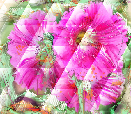 opium poppy: Abstract flower painting. Grungy background texture for text, logo or website. Beautiful spring flowers painted with brushstrokes and digitally modified.