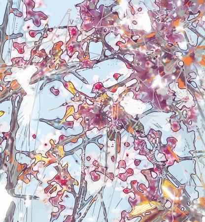 abstrakte muster: Abstrakte Blumenmalerei. Grungy Hintergrund-Textur für Text oder eine Website. Schöne Frühlingsblumen mit Pinselstrichen gemalt und digital geändert.