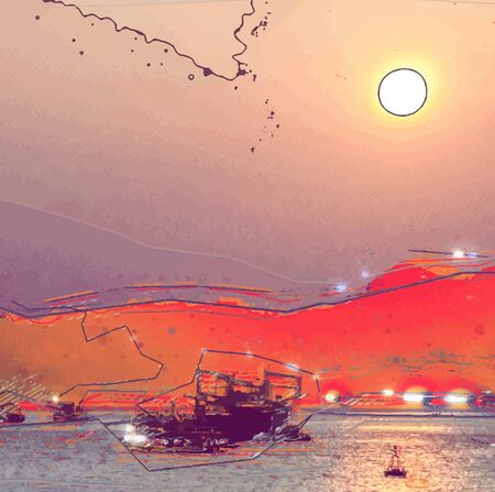 Expressionist painting of a sunset at sea with glowing water surfaceunder the setting sun and boats. Grungy background for travel, fishing and new experience. Nostalgic hipster background. Vector