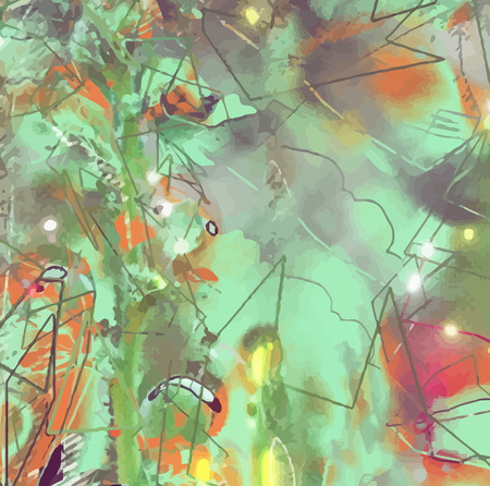 Abstract flower painting. Grungy background texture for text or website. Beautiful spring flowers painted with brushstrokes and digitally modified. Vector