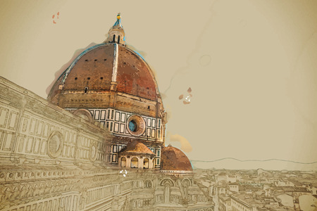 Travel background in vector format. Modern stylish painting with watercolor and pencil. The Basilica di Santa Maria del Fiore (Basilica of Saint Mary of the Flower) in Florence, Italy Çizim