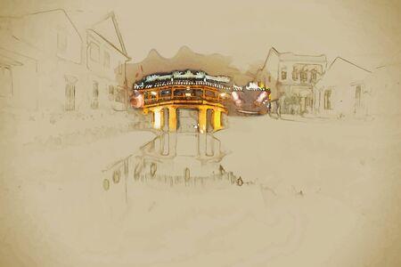 ponte giapponese: Sfondo di viaggio in formato vettoriale. Pittura elegante e moderno con l'acquerello e matita. Vecchio ponticello giapponese di notte a Hoi An, Vietnam