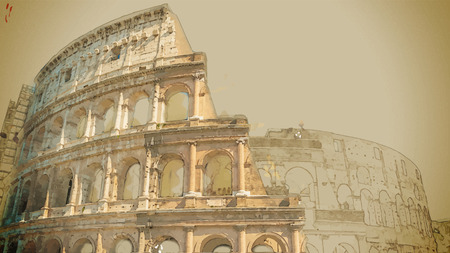 ancient rome: Travel background in vector format. Modern stylish painting with watercolor and pencil. Colosseum (Coliseum) in Rome, Italy. The Colosseum is an important monument of antiquity.