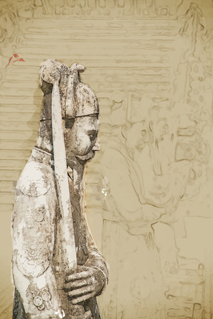 miras: Vektör formatında Seyahat arkaplan. Suluboya ve kalem ile modern şık boyama. Hue, Vietnam Khai Dinh imparatoru Türbesi. Bir UNESCO Dünya Mirası
