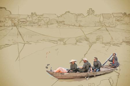 ベクトル形式で背景を旅行します。水彩と鉛筆でモダンなスタイリッシュな絵。伝統的なベトナムのボートで観光客のグループがホイアンの漁網を