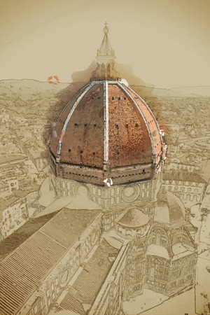 basilica: Travel background in vector format. Modern stylish painting with watercolor and pencil. The Basilica di Santa Maria del Fiore (Basilica of Saint Mary of the Flower) in Florence, Italy Illustration