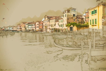 forefront: Travel background in vector format. Modern stylish painting with watercolor and pencil. Beautiful colorful image of a canal in Venice with moorings and a gondola in the forefront.