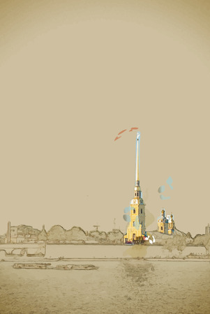admire: Travel background in vector format. Modern stylish painting with watercolor and pencil. The Peter and Paul Fortress, Saint Petersburg, Russia Illustration
