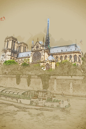 cite: Travel background in vector format. Modern stylish painting with watercolor and pencil. Notre-Dame church, tourist boat, view from Seine, southern facade, Paris.