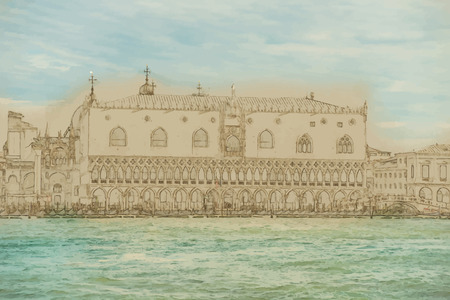iconic architecture: Travel background in vector format. Modern stylish painting with watercolor and pencil. Piazza di San Marco view on Piazza di San Marco from a boat.