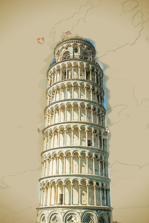 leaning tower of pisa: Travel background in vector format. Modern stylish painting with watercolor and pencil. View of Leaning tower, Piazza dei miracoli, Pisa, Italy. Illustration