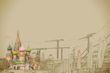 red square moscow: Travel background in vector format. Modern stylish painting with watercolor and pencil. St. Basil church in Moscow beside big construction cranes and flags