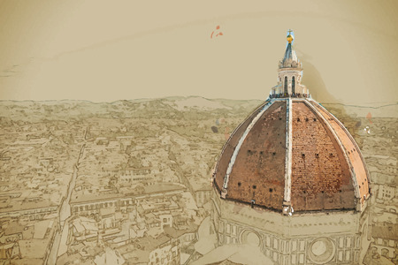 saint mary: Travel background in vector format. Modern stylish painting with watercolor and pencil. The Basilica di Santa Maria del Fiore (Basilica of Saint Mary of the Flower) in Florence, Italy Illustration