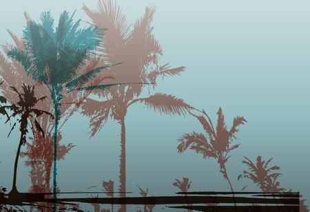 arbres silhouette: Colorful background avec la silhouette de palmiers sur la plage. Fond saisonnière tropicale pour les sujets de Voyage, vacances et l'été.