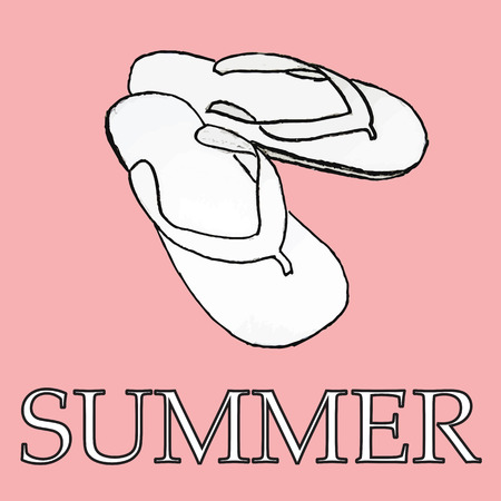 flipflop: Doodle of summer slippers.  Summer symbols for design and backgrounds. Happy vintage image of summertime. Illustrations of topics of vacation and travel. Illustration