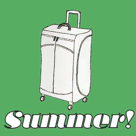 sac: Hand drawn icon of travel bag. Summer symbols for design and backgrounds. Happy vintage image of summertime. Illustrations of topics of vacation and travel.