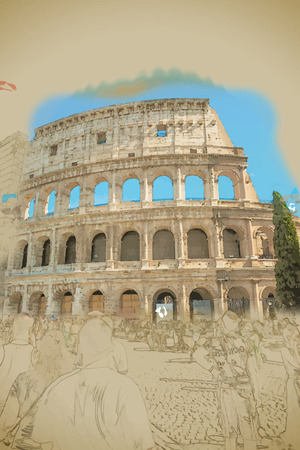 colliseum: Colosseum (Coliseum) in Rome, Italy. Main tourist attraction of Rome. Travel background illustration. Painting with watercolor and pencil. Brushed artwork. Vector format.
