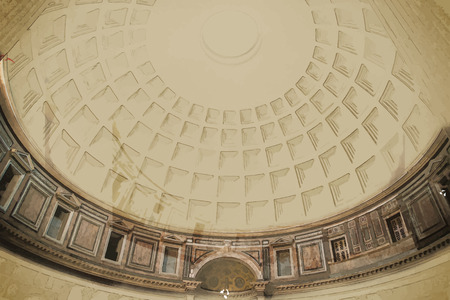 pantheon: Interior of Pantheon in Rome. One of the main landmarks in Europe. Travel background illustration. Painting with watercolor and pencil. Brushed artwork. Vector format.