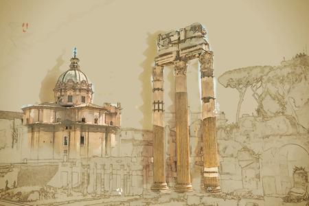 Ruïnes van het Forum Romanum in Rome, Italië. Rome is de 3e meest bezochte stad in de Europese Unie. Reizen achtergrond illustratie. Schilderen met waterverf en potlood. Geborsteld artwork. Vector-formaat.
