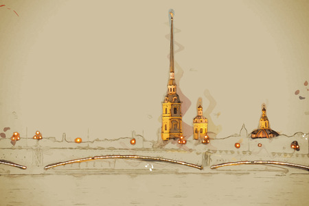 The Peter and Paul Fortress, Saint Petersburg, Russia. Travel background illustration. Painting with watercolor and pencil. Brushed artwork. Vector format.