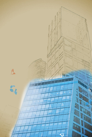 digitally transformed photo of modern office building. Business background. Business background illustration. Painting with watercolor and pencil. Brushed artwork. Vector format.