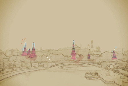 moskva: Moscow River and the Kremlin. The Moscow Kremlin is the main attraction of the Russian capital.Travel background illustration. Painting with watercolor and pencil. Brushed artwork. Vector format. Illustration