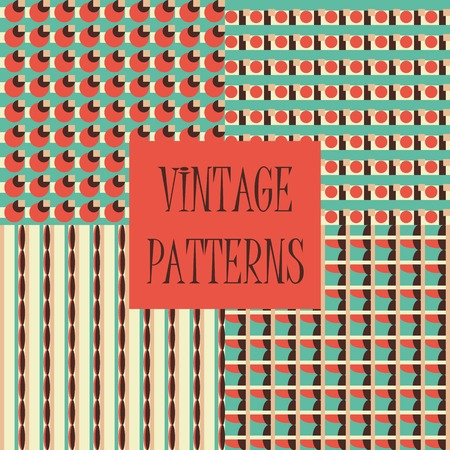retro wallpaper: Set of four abstract geometric retro seamless tiles. Retro wallpaper texture. Vintage pattern for design uses, web and printed media. Colorful wrapping paper.