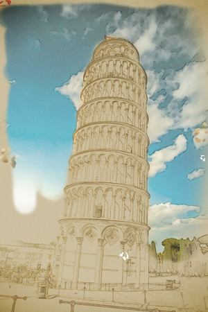 miracoli: View of Leaning tower, Piazza dei miracoli, Pisa, Italy. Travel background illustration. Painting with watercolor and pencil. Brushed artwork.