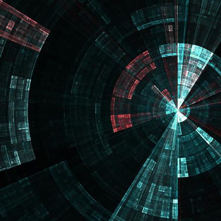 Samenstelling van abstracte radiale net en lichten als concept metafoor voor technologie, wetenschap en entertainment Stockfoto