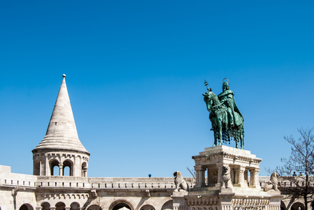 neogothic: Fishermans Bastion built in neo-gothic style with conical roofs and towers, in Budapest city, Hungary Stock Photo