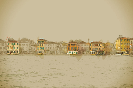 panoramic view: Travel background in vector format. Modern stylish painting with watercolor and pencil. Panoramic view of Giudecca Island, Venice, Italy