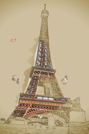 above clouds: Travel background in vector format. Modern stylish painting with watercolor and pencil. Eiffel tower at dusk, above clouds. viewd from seine