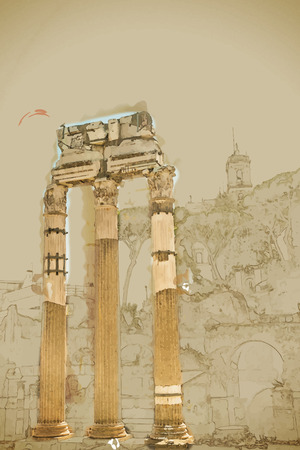 roman empire: Travel background in vector format. Modern stylish painting with watercolor and pencil. Ruins of the Roman Forum in Rome, Italy. Rome is the 3rd most visited city in the European Union.