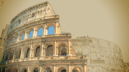 antiquity: Travel background in vector format. Modern stylish painting with watercolor and pencil. Colosseum (Coliseum) in Rome, Italy. The Colosseum is an important monument of antiquity.