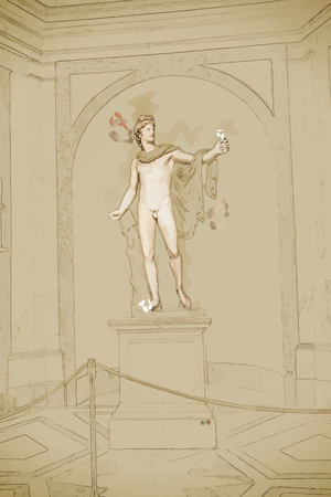 apollo: Travel background in vector format. Modern stylish painting with watercolor and pencil. Apollo Belvedere in Vatican Museums on August in Vatican.