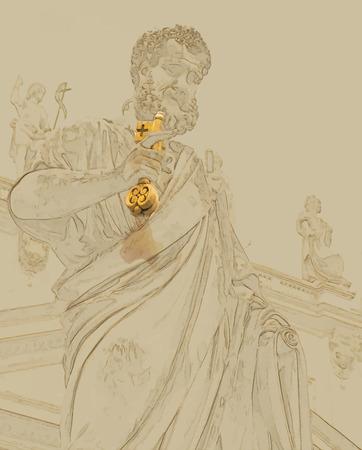 벡터 형식으로 배경 여행. 수채화와 연필 현대적인 세련 된 그림입니다. 바티칸 시티의 키와 성 베드로의 동상 일러스트