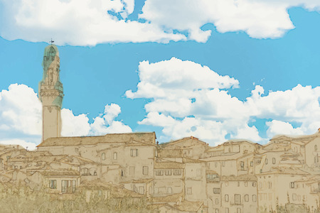 siena italy: Travel background in vector format. Modern stylish painting with watercolor and pencil. Panorama of Siena, Tuscany, Italy