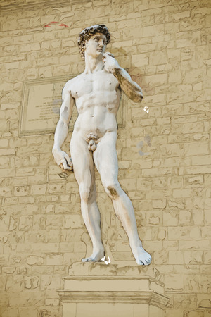 naked male: Travel background in vector format. Modern stylish painting with watercolor and pencil. David by Michelangelo in front of Palazzo Vecchio, Florence Italy Illustration