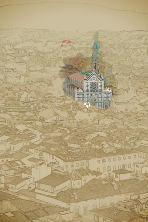 Travel background in vector format. Modern stylish painting with watercolor and pencil. Cityscape of Florence. Basilica di Santa Croce is visible in distance.