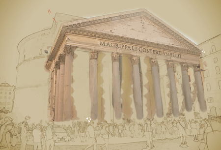 ancient roman: Pantheon with unidentified people in Rome. One of best-preserved of all Ancient Roman buildings. Travel background illustration. Painting with watercolor and pencil. Brushed artwork. Vector format.