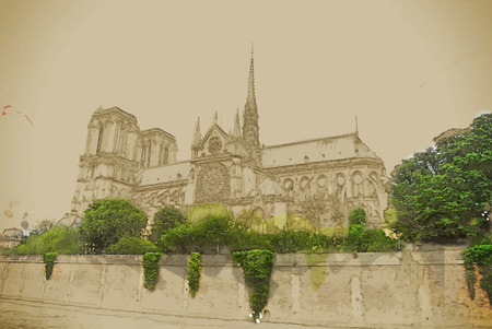 seine: Notre-Dame church, view from Seine, southern facade.Travel background illustration. Painting with watercolor and pencil. Brushed artwork. Vector format.