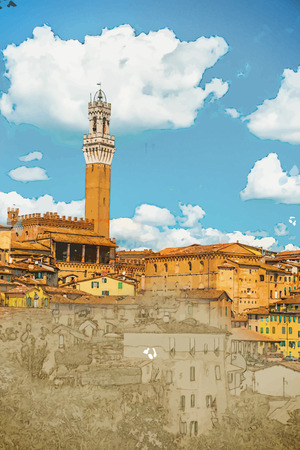 Panorama of Siena, Tuscany, Italy. Travel background illustration. Painting with watercolor and pencil. Brushed artwork. Vector format. Illustration