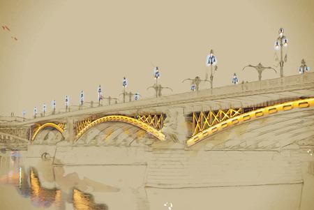 nightfall: Margit or Margaret Bridge (sometimes Margit Bridge) in Budapest, Hungary. Travel background illustration. Painting with watercolor and pencil. Brushed artwork. Vector format.