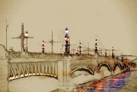 saint petersburg: Trinity Bridge across the Neva in Saint Petersburg, Russia. Travel background illustration. Painting with watercolor and pencil. Brushed artwork. Vector format. Illustration