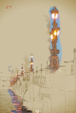 Trinity brug over de Neva in Sint-Petersburg, Rusland. Reizen achtergrond illustratie. Schilderen met waterverf en potlood. Geborsteld artwork. Vector-formaat. Stock Illustratie